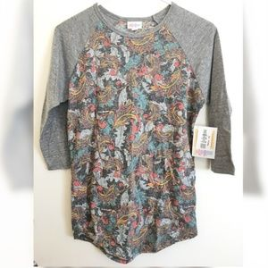 Lularoe Randy Baseball Tee Paisley Heathered
